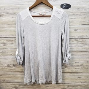 Eri & Ali Light Gray and White Long Sleeve Top